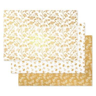 Gold Foil Mixed Floral Patterns Foil Wrapping Paper Sheets