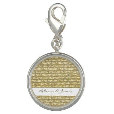 GOLD FREEHAND BRUSH STROKE PATTERN MONOGRAM CHARM