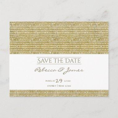 GOLD FREEHAND BRUSH STROKE PATTERN Save the date Announcement Post