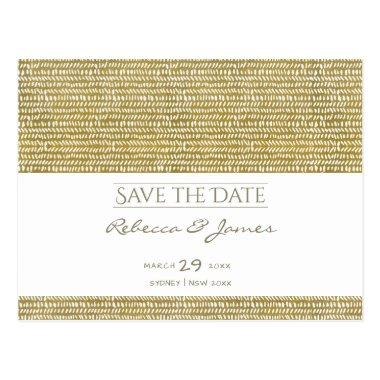 GOLD FREEHAND BRUSH STROKE PATTERN Save the date PostInvitations