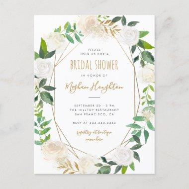 Gold Geometric Watercolor Floral Bridal Shower Invitation PostInvitations