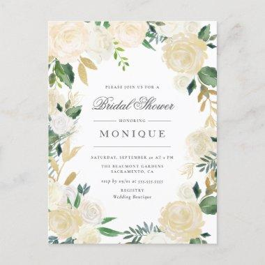 Gold Glitter & Blush Ivory Floral Bridal Shower Invitation PostInvitations