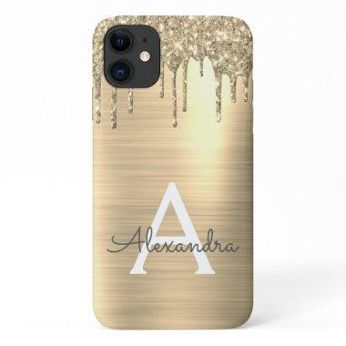 Gold Glitter Brushed Metal Monogram Name iPhone 11 Case