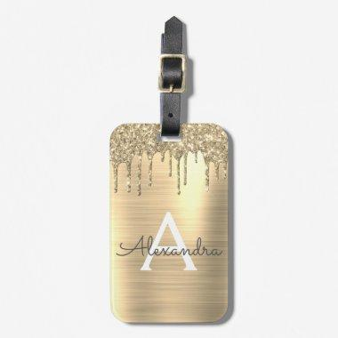 Gold Glitter Brushed Metal Monogram Name Luggage Tag