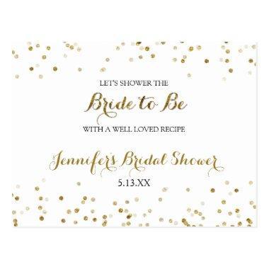 Gold Glitter Confetti Bridal Shower Recipe Invitations