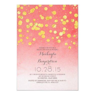 gold glitter confetti coral pink bridal shower Invitations