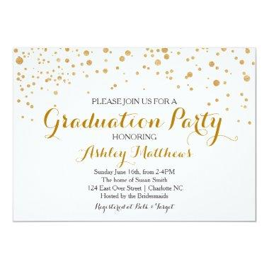 Gold Glitter Dots Graduation Party Invitations