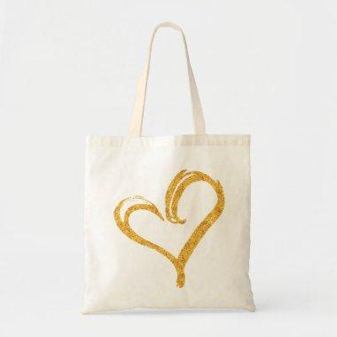 Gold Glitter Love Heart Modern Wedding Tote