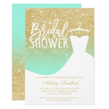 Gold glitter mint elegant chic dress Bridal shower Invitations