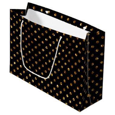 Gold Glitter Polka Dots Black Large Gift Bag