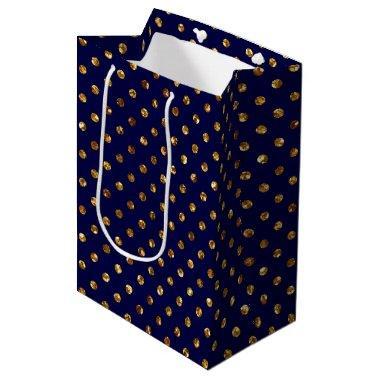 Gold Glitter Polka Dots Navy Blue Medium Gift Bag