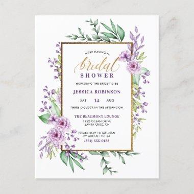Gold Glitter Purple Flowers Script Bridal Shower Invitation PostInvitations