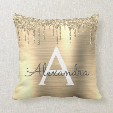 Gold Glitter Sparkle Brushed Metal Monogram Name Throw Pillow