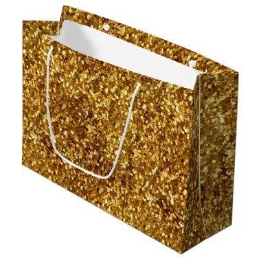 Gold Glitter Stylish Modern Large Gift Bag