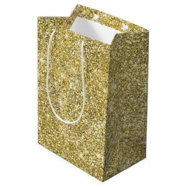Gold Glitter Wedding or Birthday Medium Gift Bag