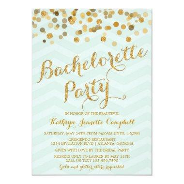 Gold Glittering Confetti Bachelorette Party Invite