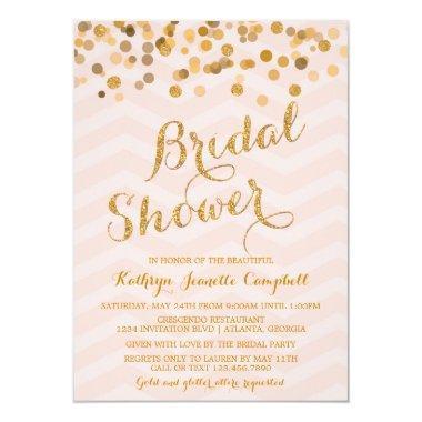 Gold Glittering Confetti  Invite