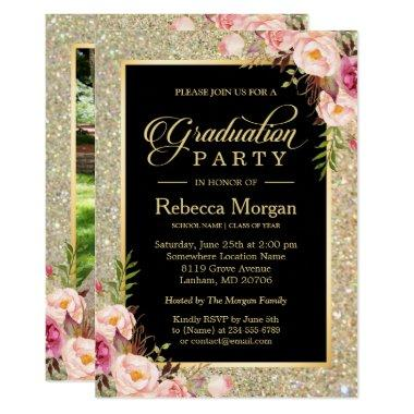 Gold Glitters Floral 2019 Photo Graduation Party