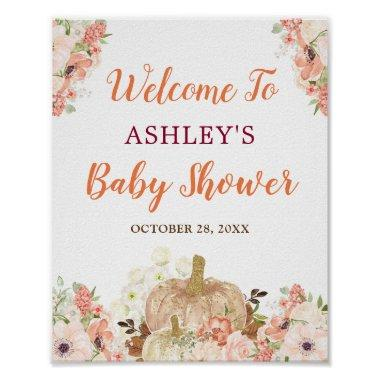 Gold Glitters Pumpkin Floral Fall Baby Shower Sign