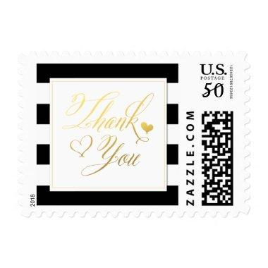Gold Heart Thank You over Striped Postage Stamps