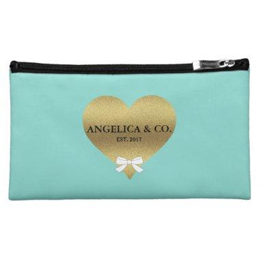 Gold Heart Tiffany Teal Blue Party Cosmetic Bag