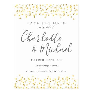 Gold Hearts Confetti Signature Save the Date Invitations