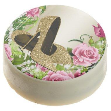 Gold High Heel Shoe Pink Rose Cookies