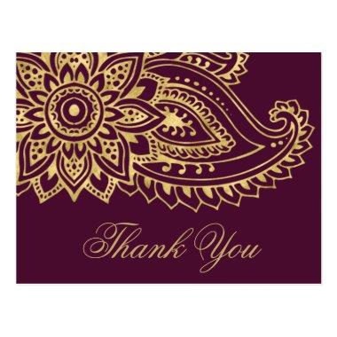Gold Indian Paisley Wedding Thank You PostInvitations