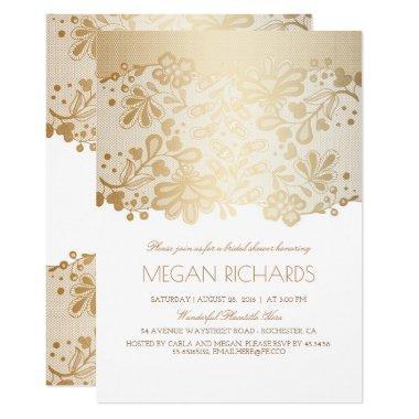 Gold Lace Elegant Vintage White Bridal Shower Invitations
