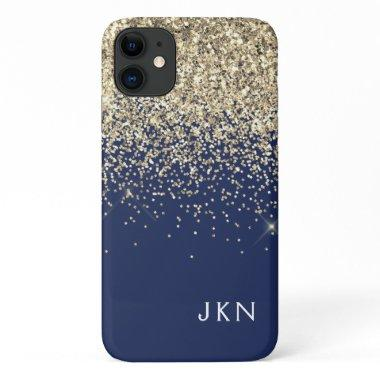 Gold Navy Blue Girly Glitter Sparkle Monogram Name iPhone 11 Case