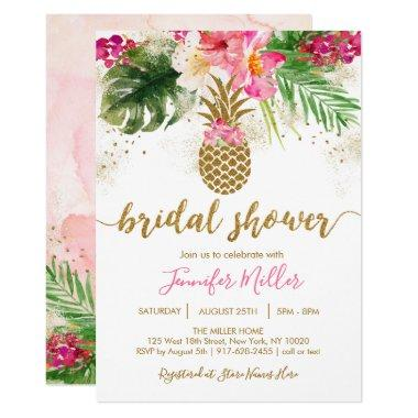 Gold Pineapple Floral Tropical Bridal Shower Invitations