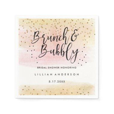 Gold Pink Brunch and Bubbly  Napkin