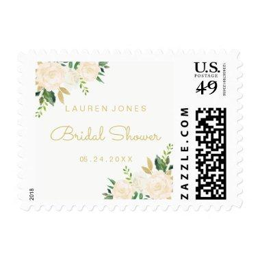 Gold Pink Floral Elegant Bridal Shower Stamp