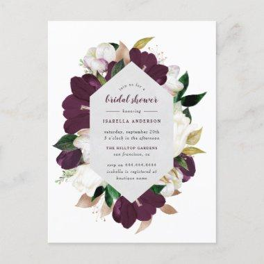 Gold & Plum Purple Floral Bridal Shower Invitation PostInvitations