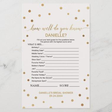Gold Polka Dot How Well Do You Know The Bride Game