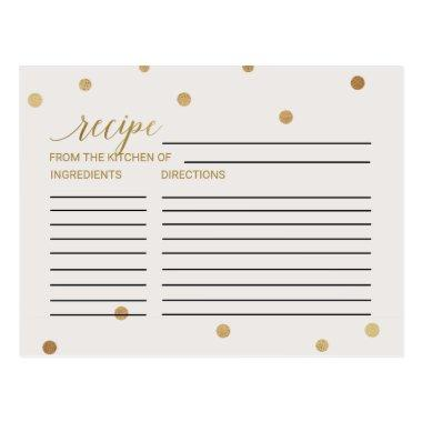 Gold Polka Dots Bridal Shower Recipe Invitations
