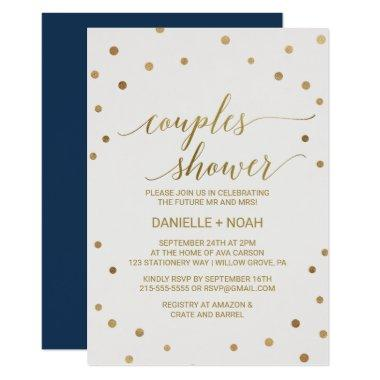 Gold Polka Dots Couples Shower Invitations