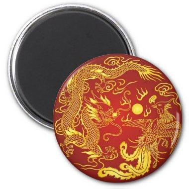 Gold Red Dragon Phoenix Chinese Wedding Favor Magnet