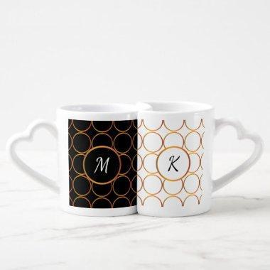 Gold rings monogram coffee mug set