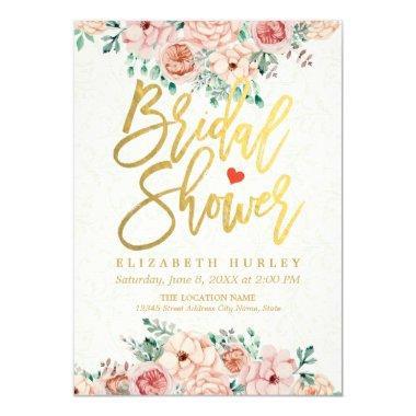 Gold Script Watercolor Floral  Invite