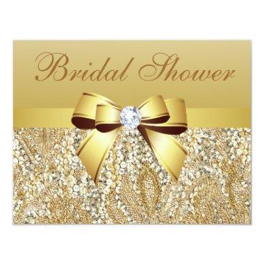 Gold Sequins, Bow & Diamond Bridal Shower Invitations
