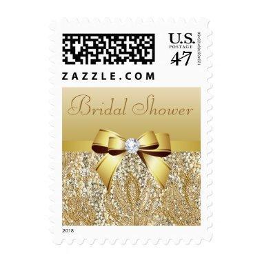 Gold Sequins, Bow & Diamond  Postage