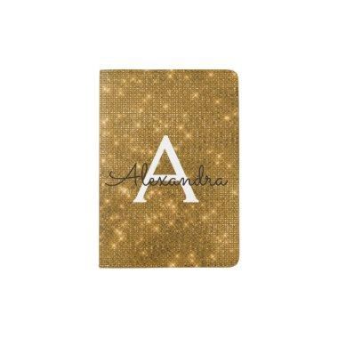 Gold Sparkle Bling Girly Monogram Name Passport Holder