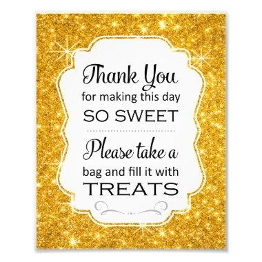 Gold Sparkle Candy Buffet  Sign Print
