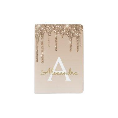 Gold Sparkle Glitter Luxury Monogram Name Passport Holder