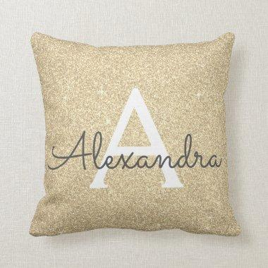 Gold Sparkle Glitter Monogram Name & Initial Throw Pillow