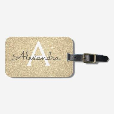 Gold Sparkle Glitter Monogram Name Luggage Tag