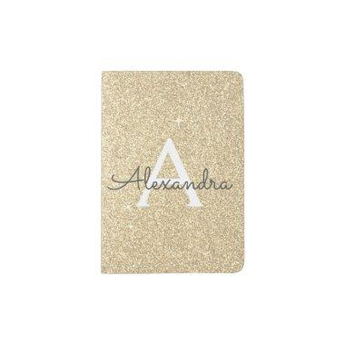 Gold Sparkle Glitter Monogram Name Passport Holder