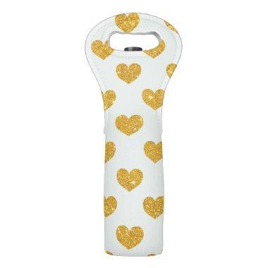Gold Sparkle Heart Wine Bag