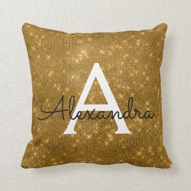 Gold Sparkle Shimmer Monogram Name & Initial Throw Pillow